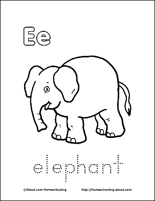 Letter E Coloring Book  Free Printable Pages