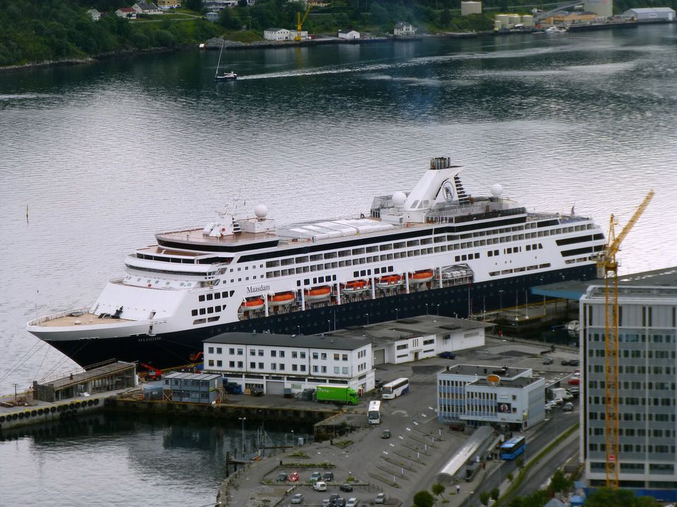 Maasdam of Holland America Line at the dock in Alesund, Norway