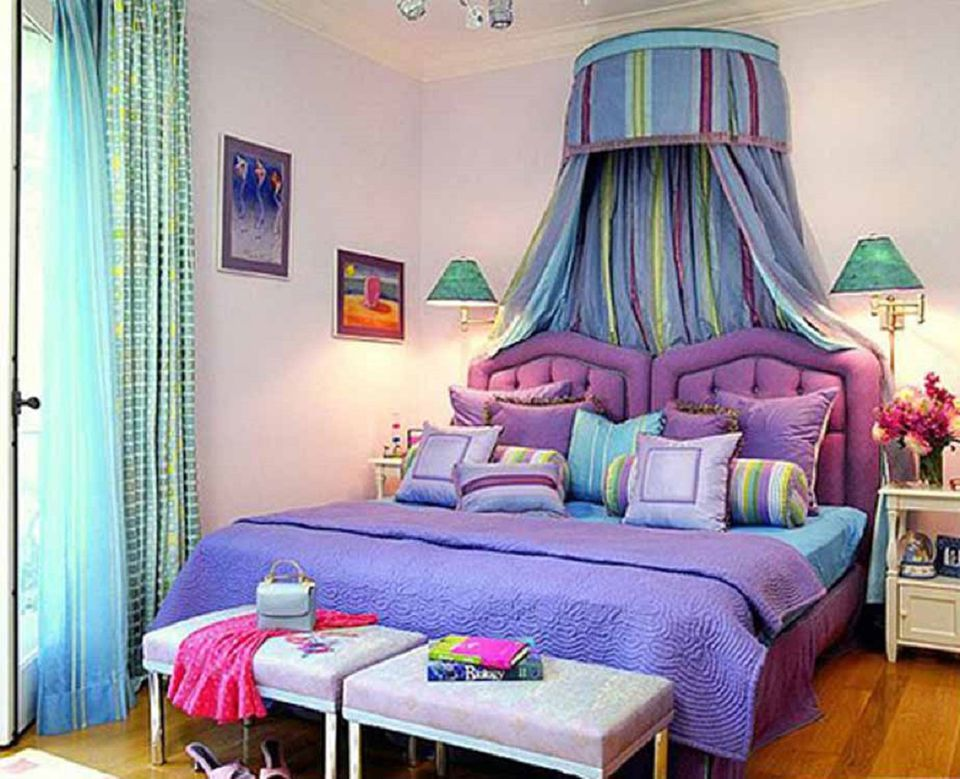 romantic purple blue and green bedroom