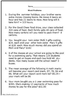 Printable 5th Grade Math Word Problem Worksheets