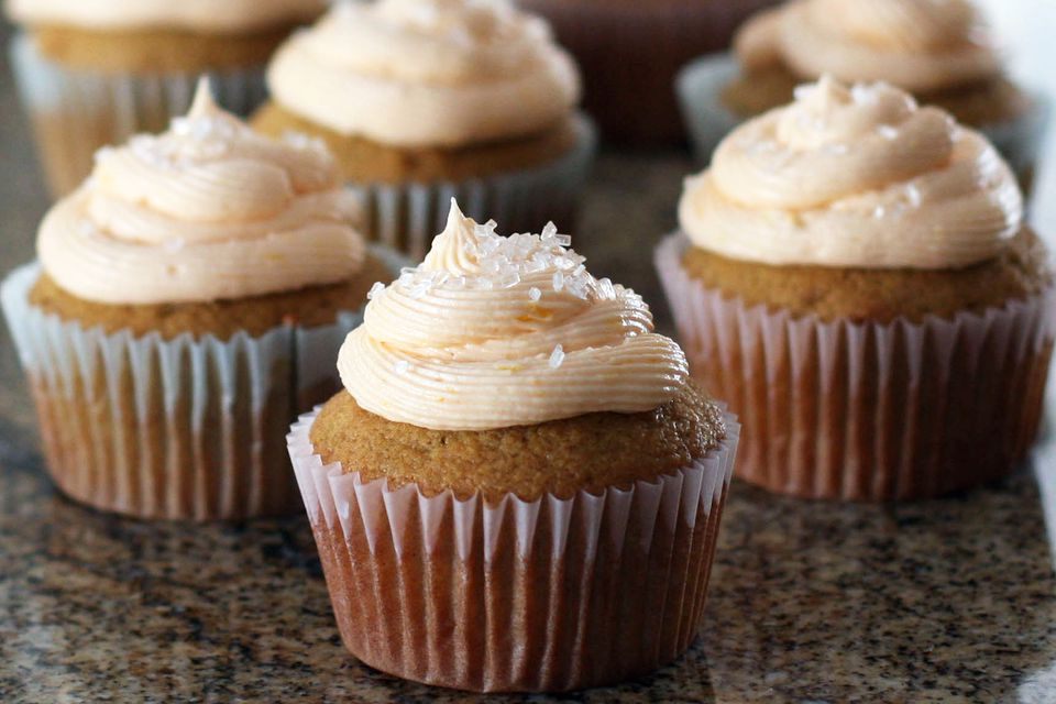 Orange Frosting on Butternut Squash Cupcakes