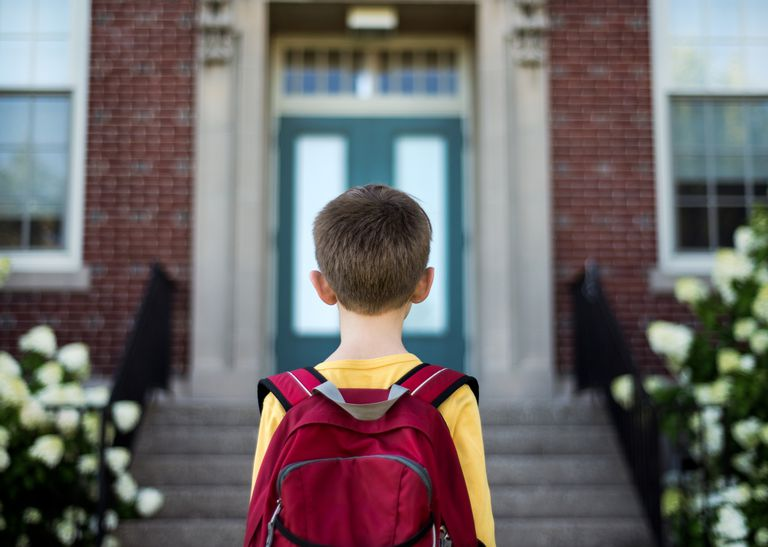 Young boy wearing backpack standing in front of school building