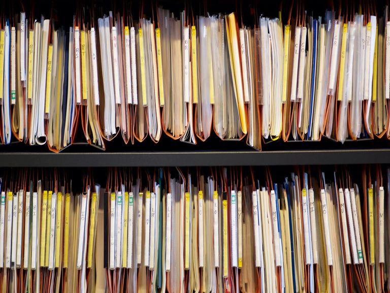File folders on shelf