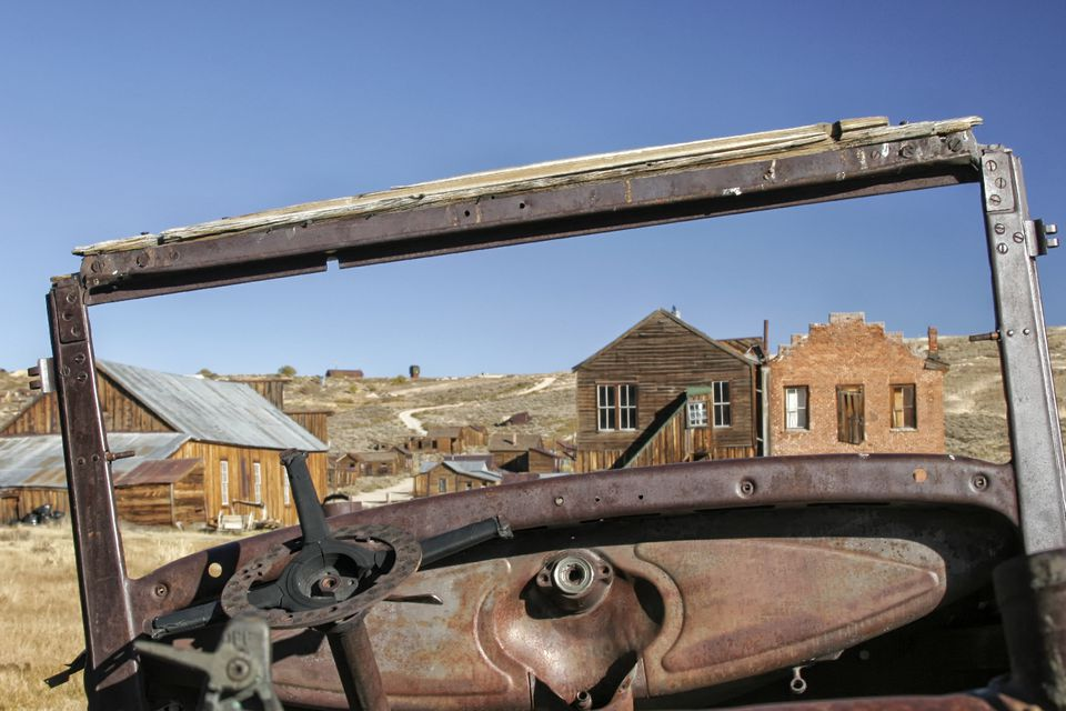 Old Car and Buildings in Bodie Ghost Town