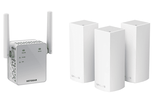Screenshot of the Linksys Velop Tri-band WiFi Mesh System and Netgear AC750 WiFi Range Extender