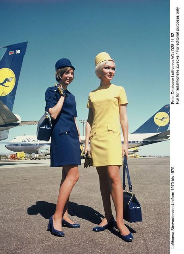 Lufthansa flight attendant uniforms from the 1970s.