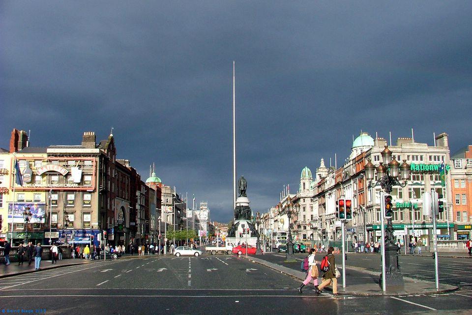 Dublin's Centre - O'Connell Bridge and O'Connell Street.