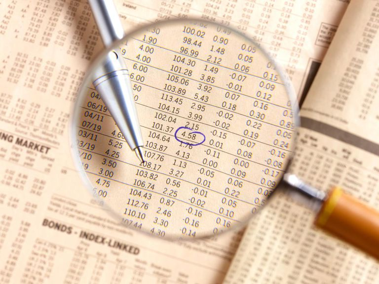Looking at share prices through magnifying glass.