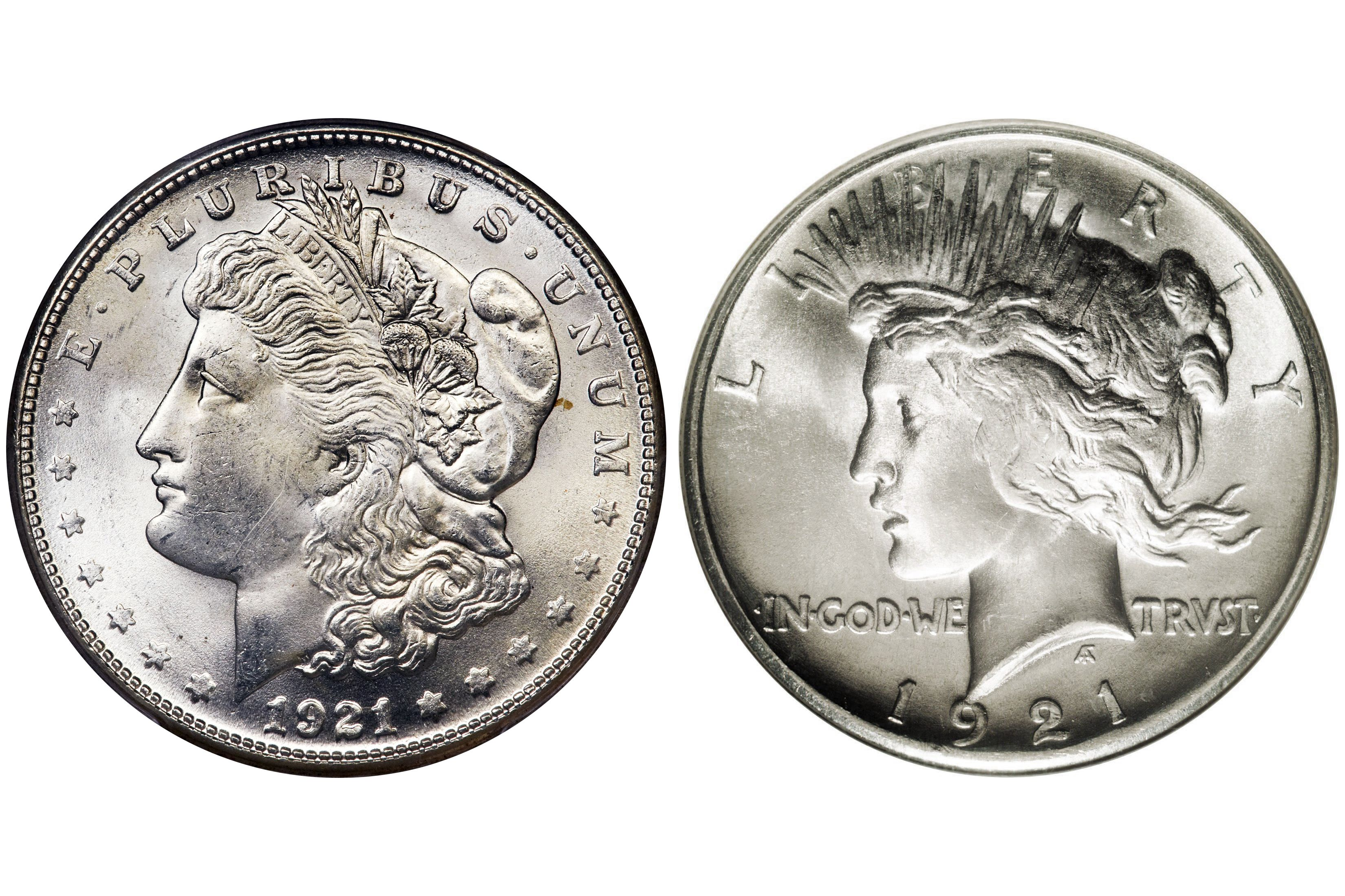 1921 Two Different Silver Dollar Designs