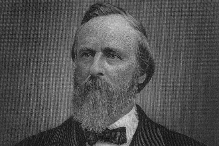 Engraved portrait of Rutherford B. Hayes