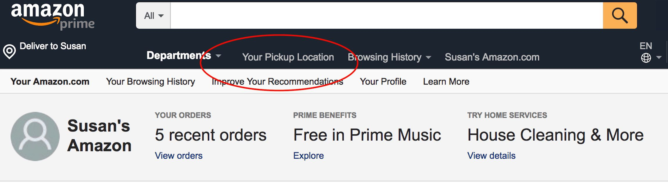 Screenshot of the Amazon home page with Your Pickup Location circled in red