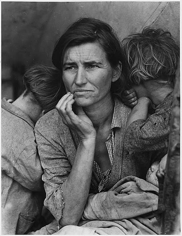 The famous picture of the Great Depression by Dorothea Lange, Mother of 7 Children.