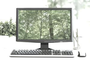 USA, New York City, Computer screen showing greenery