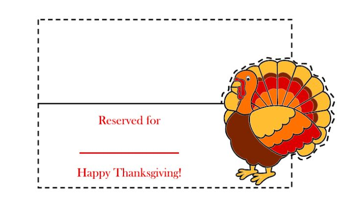 23 sets of free printable thanksgiving place cards a thanksgiving place card with a colorful turkey on it pronofoot35fo Gallery