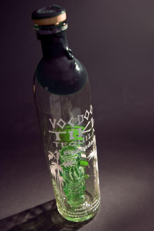 A bottle of Voodoo Tiki Tequila