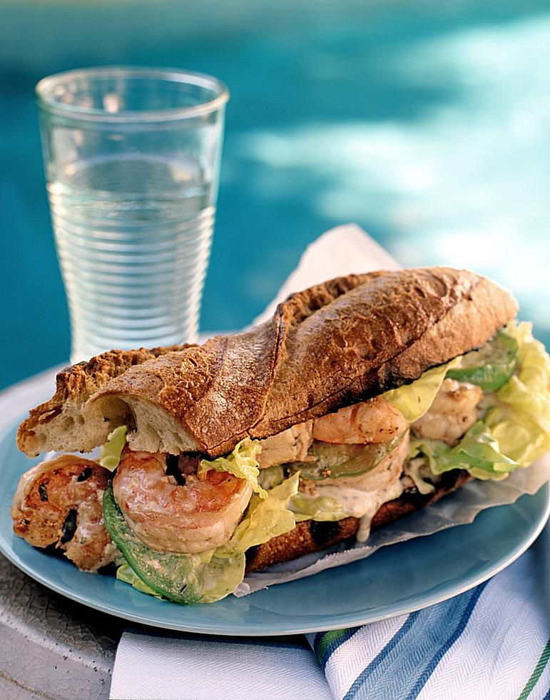 Grilled Seafood Po'Boy Sandwich