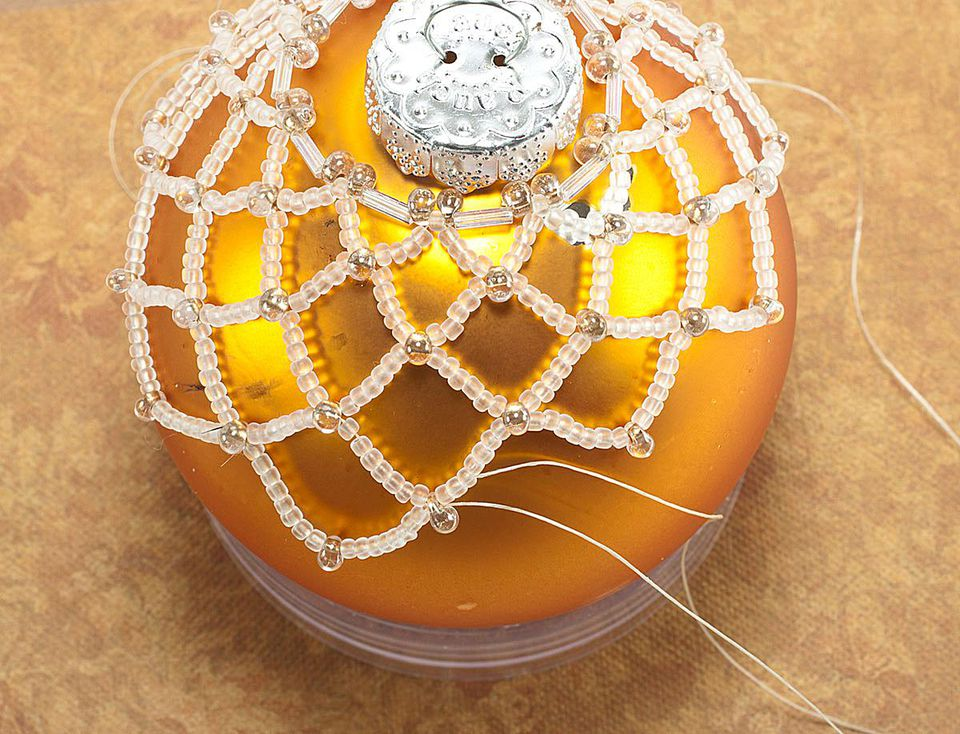 More Rounds of Horizontal Netting Being Stitched on the Ornament