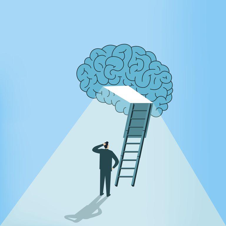Man climbing ladder into brain