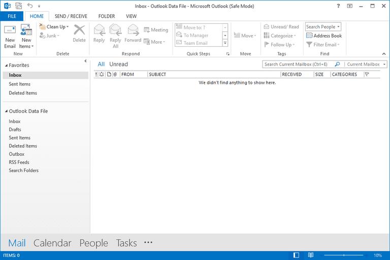Screenshot of the Outlook 2013 safe mode window