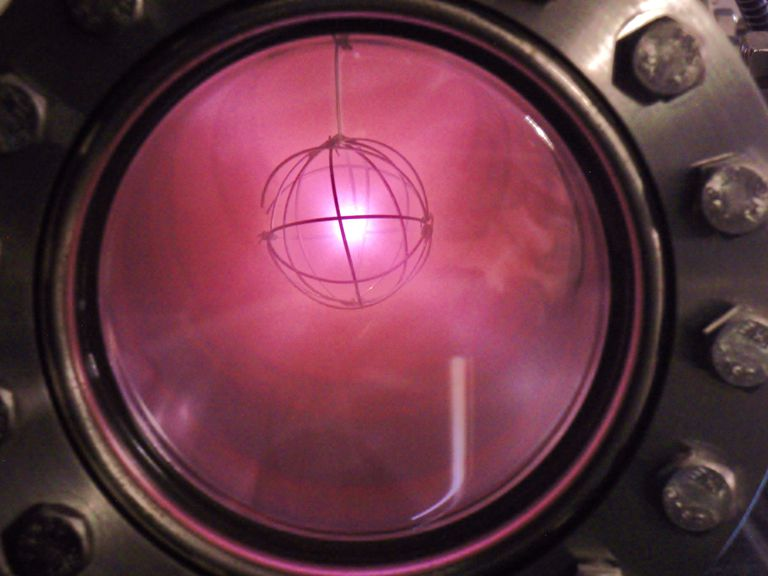 This is glowing ionized deuterium in an IEC reactor