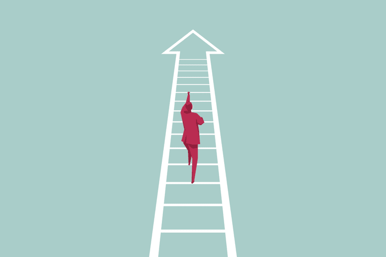 Successful person climbing ladder