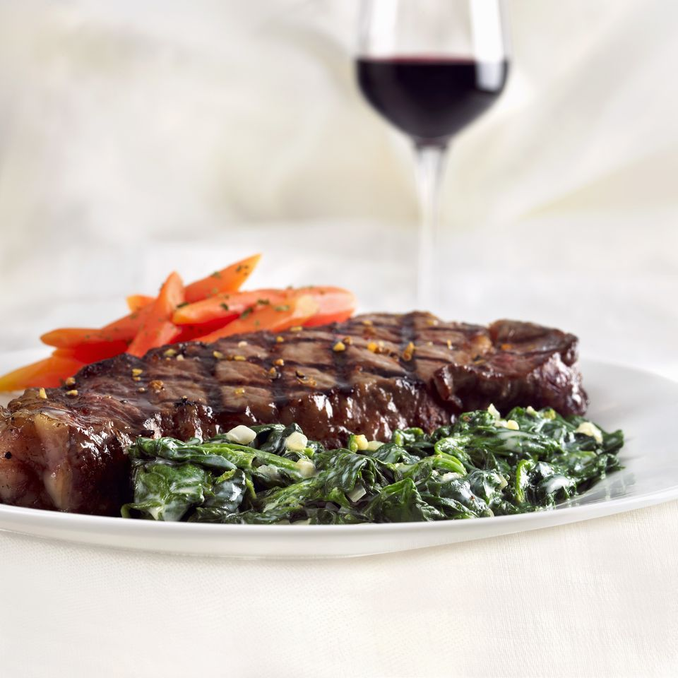 Grilled Steak with Creamed Spinach and Carrots