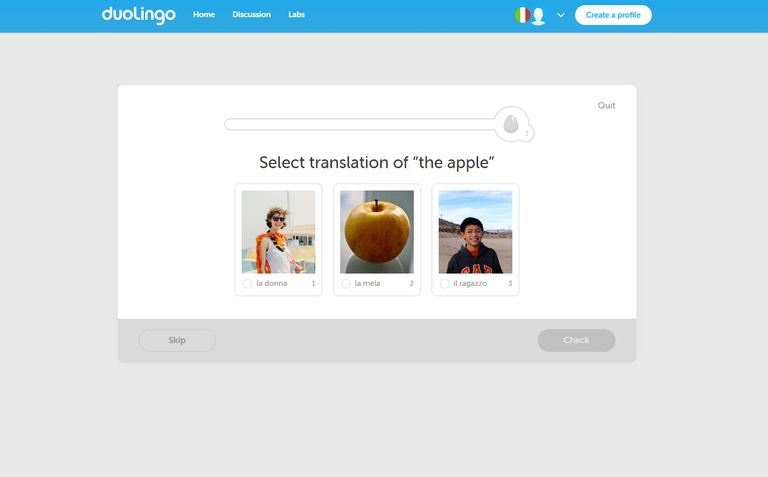 Learning Italian on Duolingo