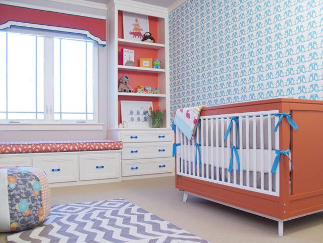 Bright Teal and Tangerine Nursery