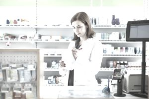 Pharmacist preparing a prescription