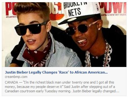 Justin Bieber Legally Changes Race to African American