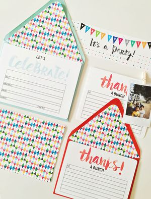 A birthday invitation template with a thank you card laying on a table