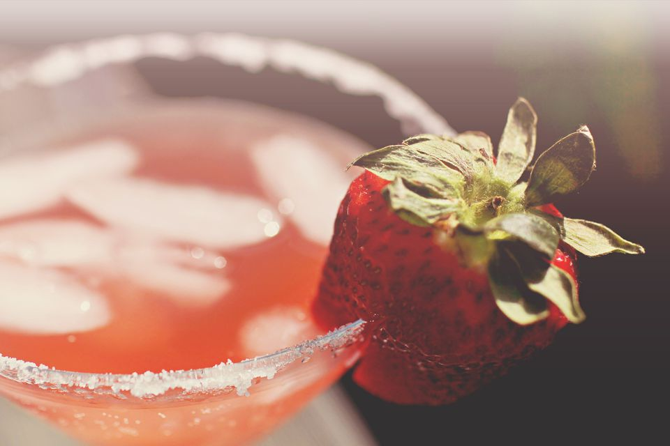 Martini time with sugar rim and strawberry