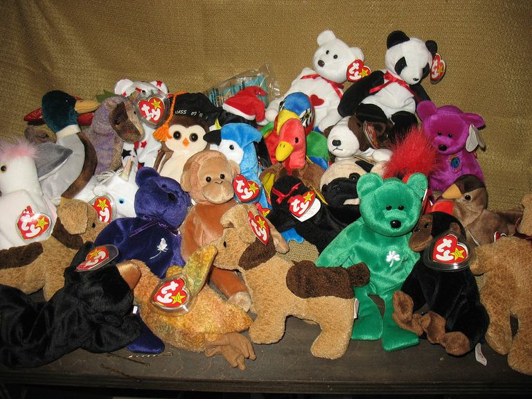 large pile of Beanie Babies