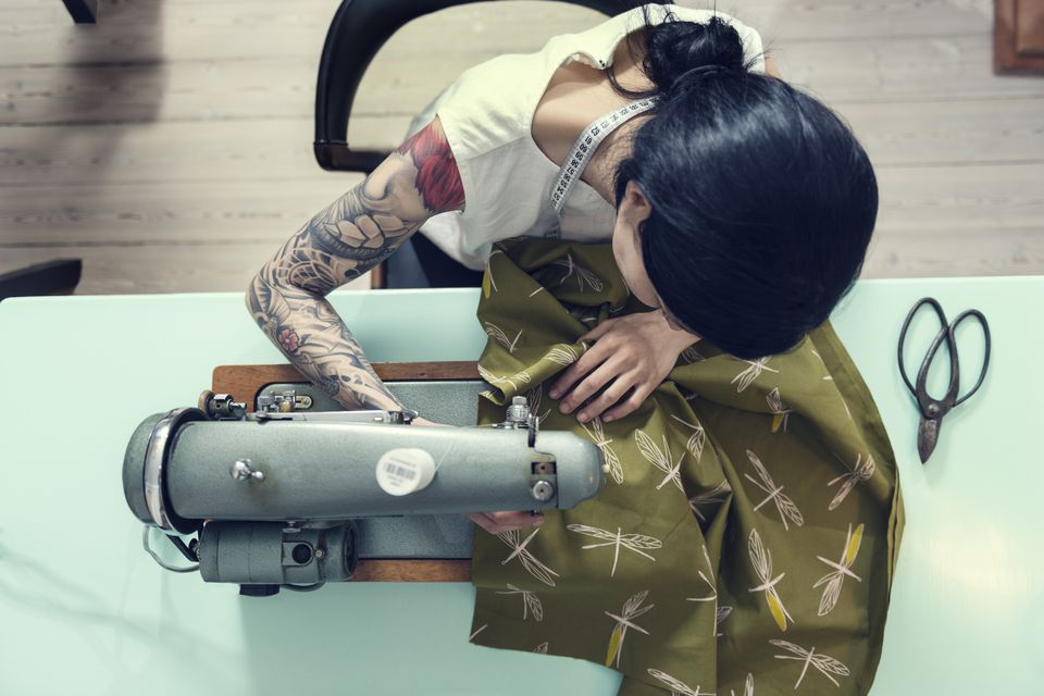 Dressmaker sewing