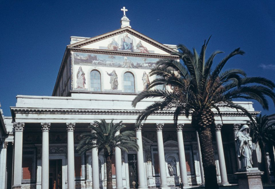An exterior view of Basilica of Saint Paul Outside the Walls, Rome, Italy, circa 1960.