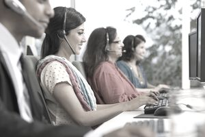 Indian business people working on office