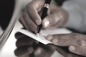 Endorsing a check and deposit slip