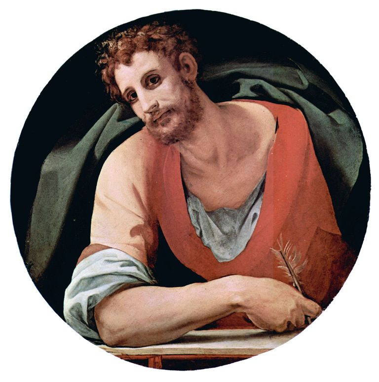 Mark the Evangelist, by Bronzino, fresco 1525–28, in Barbadori Chapel, Florence