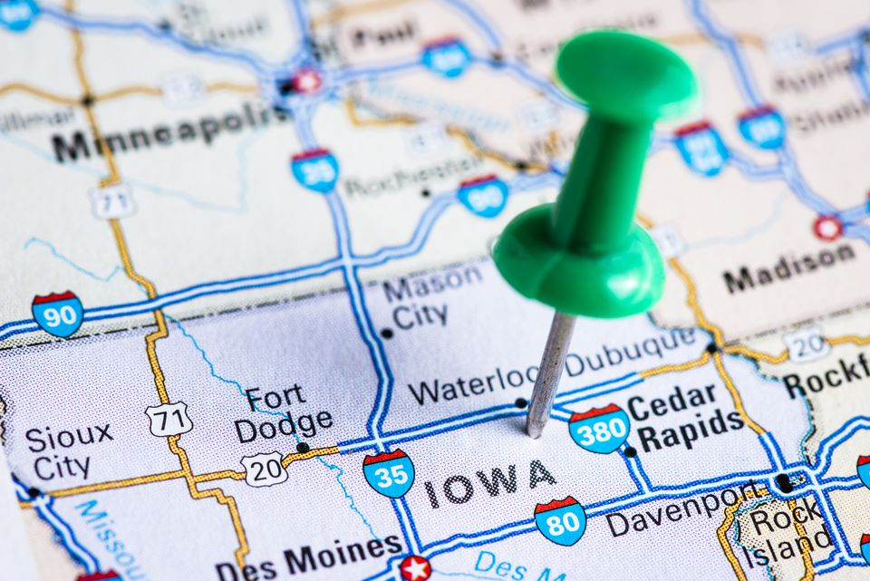 USA states on map: Iowa