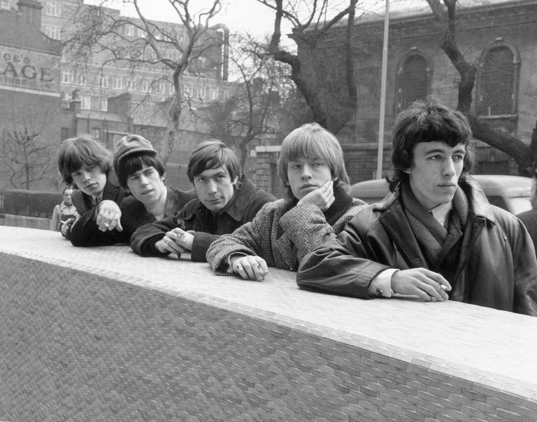 Picture of the young members of the Rolling Stones, including Mick Jagger, Keith Richards, and Jones