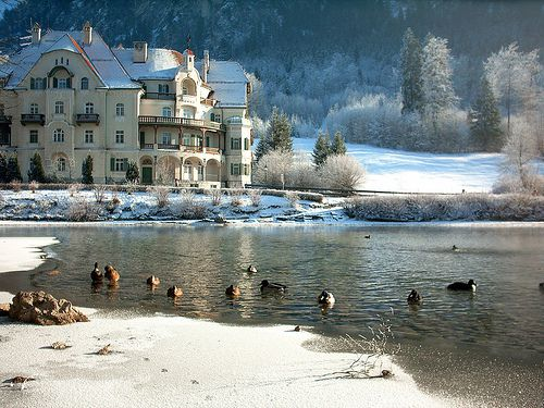 "Romantic Road, Hotel at the Bavarain Lake ""Alpsee"""