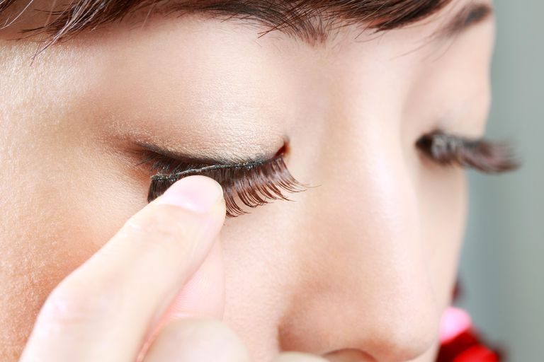 Woman's eye wearing false eyelashes,close-up