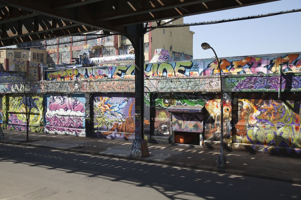 Graffiti covering a warehouse, Long Island City, NY