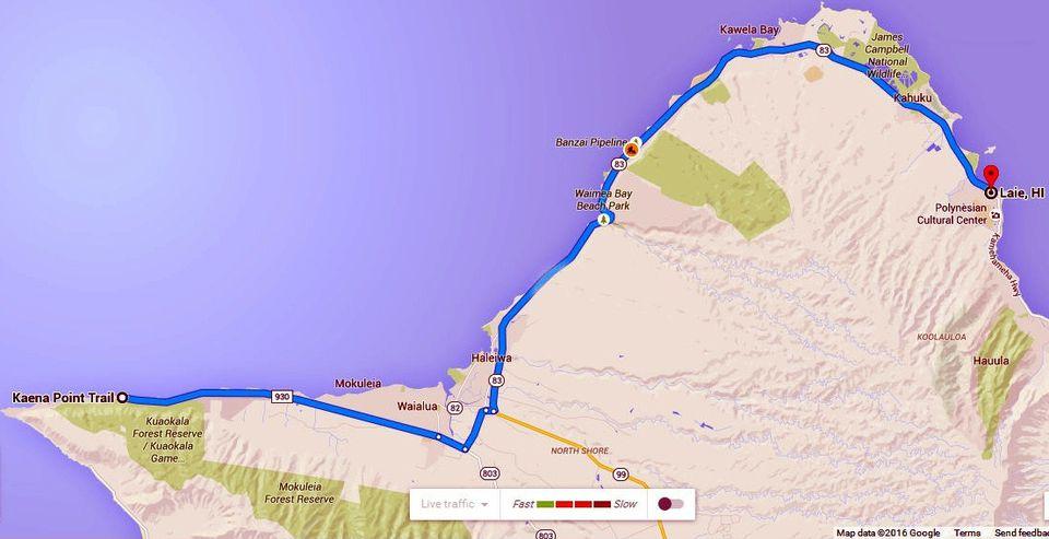 Map of Oahu's North Shore: La'ie to Ka'ena Point.