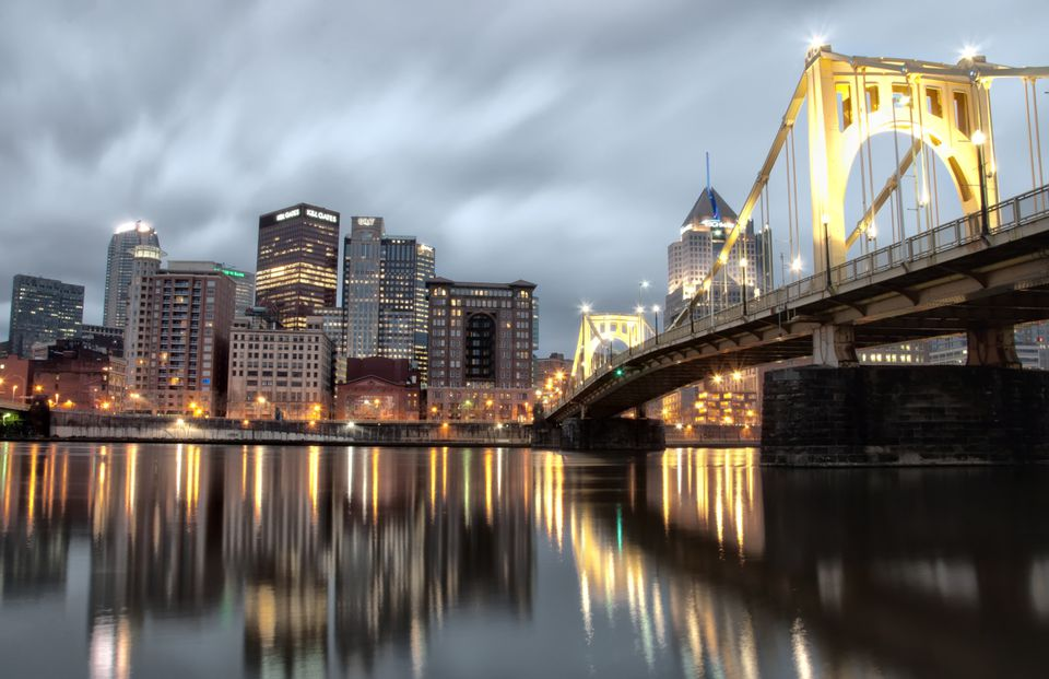 Pittsburgh at dusk, reflected in the Allegheny River.