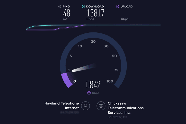 Screenshot of an Internet speed test at Speedtest.net
