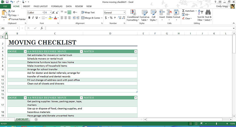 new home checklist excel