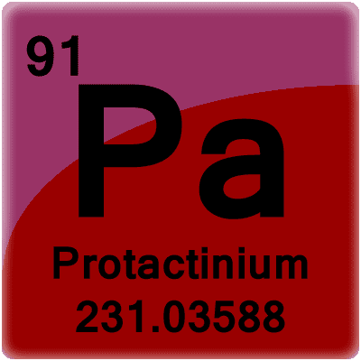 Protactinium or Pa is a radioactive element with 91 protons.