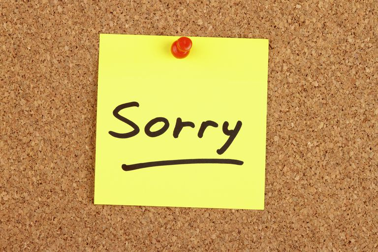 When and how to apologize at work sorry written on an adhesive note spiritdancerdesigns