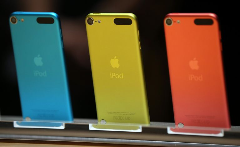 Blue, yellow, and red iPods